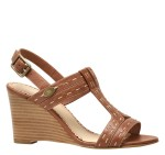 Shannon Contrast-Stitch T-Strap Wedge